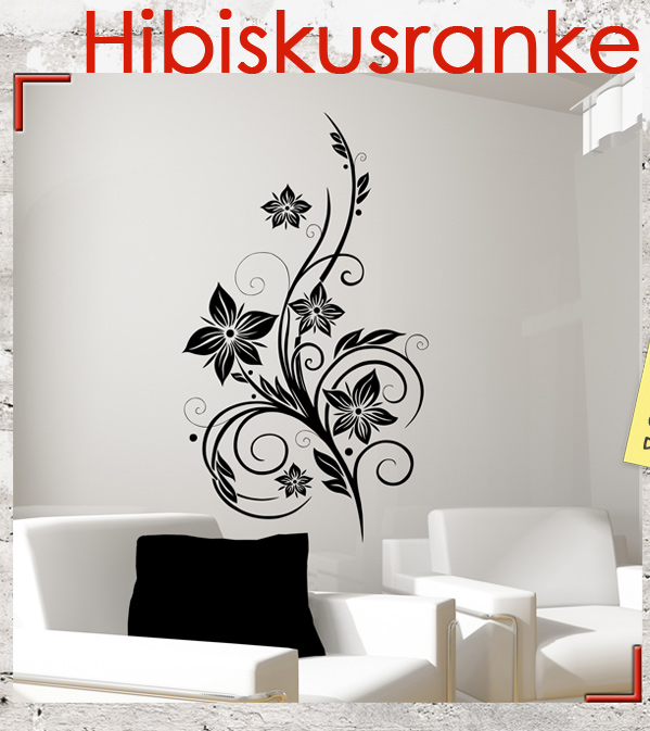 hibiskusranke hawaii wandtattoo aufkleber folie sticker ebay. Black Bedroom Furniture Sets. Home Design Ideas